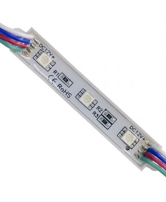 LED Module 3 SMD 5050 0.8W 12V 50lm IP65 Αδιάβροχο RGB Diommi 65005