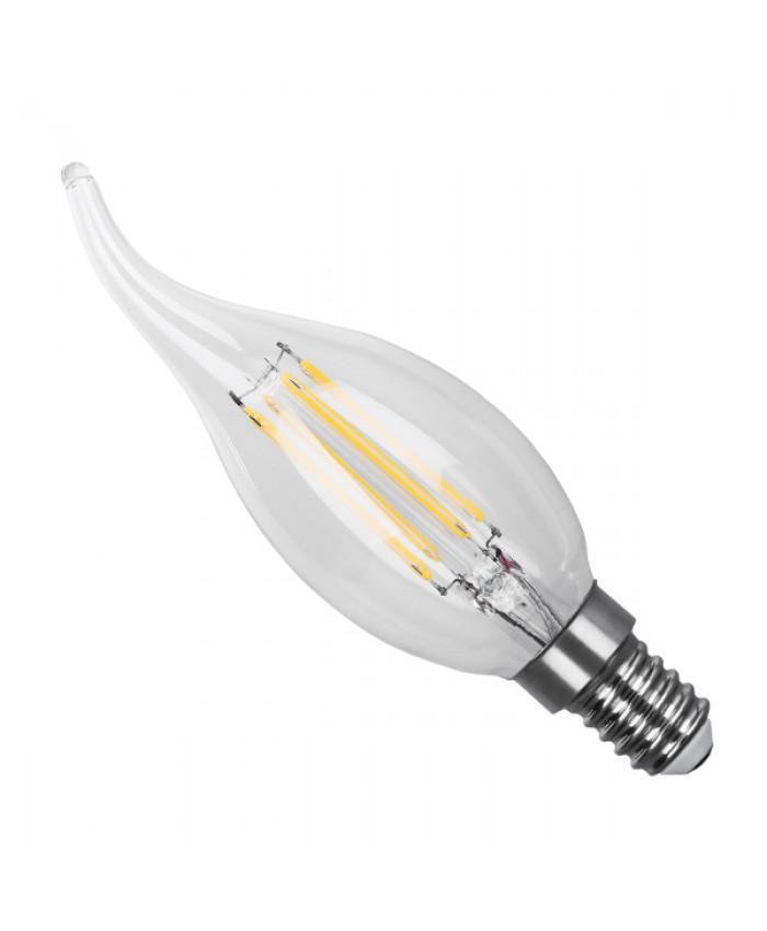 Λάμπα LED E14 Κεράκι Φλόγα C35T 4W 230V 400lm 320° Edison Filament Retro Θερμό Λευκό 2700k Dimmable Diommi 44004
