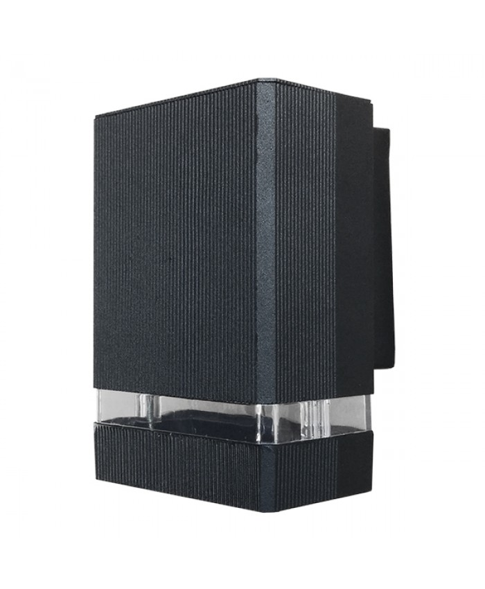Φωτιστικό Τοίχου Quatro Μαύρο Ματ Αλουμινίου IP65 Down Gu10 Diommi 90045