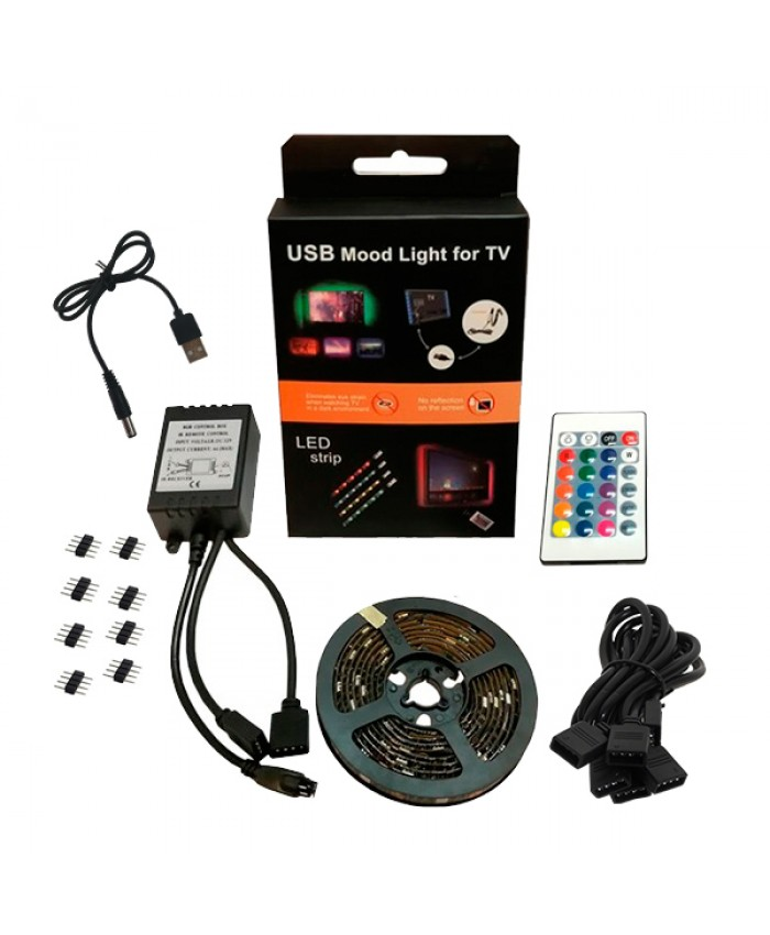 Πλήρες Κιτ Κρυφού Φωτισμού RGB με USB για Τηλεοράσεις και Τηλεχειριστήριο Diommi 06006