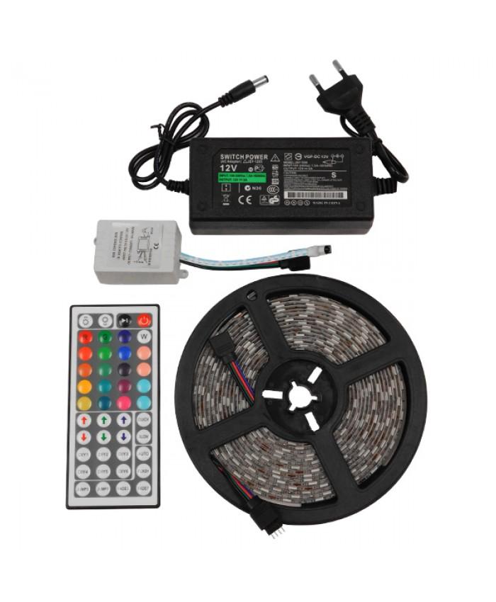 Σετ Ταινία LED 5m 36W/5m 12V 60LED/m 5050 SMD 600lm/m 120° Αδιάβροχη IP65 με Ασύρματο Χειριστήριο και Τροφοδοτικό RGB Diommi 06008