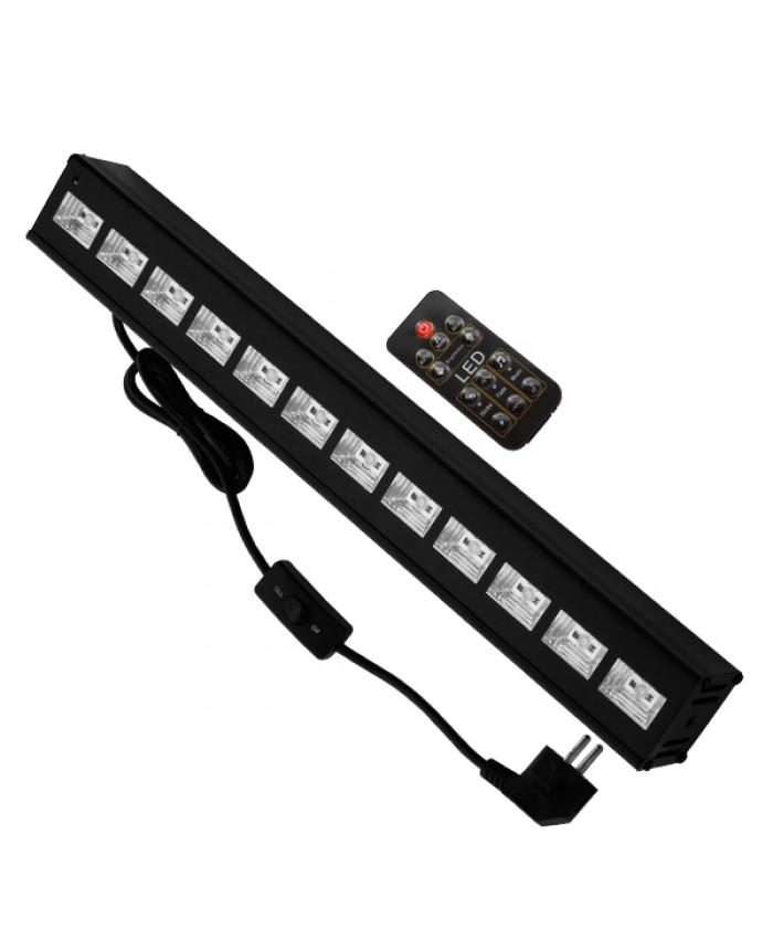 LED Μπάρα Φωτισμού UV 50cm 36W 230V 120° DMX512 με Ασύρματο Χειριστήριο Black Light Diommi 05036