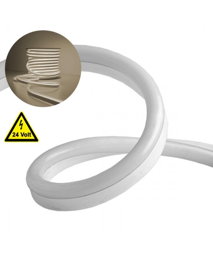 NEON FLEX LED Λευκή 1m 12W/m 24V 120 SMD/m 2835 SMD 930lm/m 120° Αδιάβροχη IP66 Φυσικό Λευκό 4500k Dimmable Diommi 22619