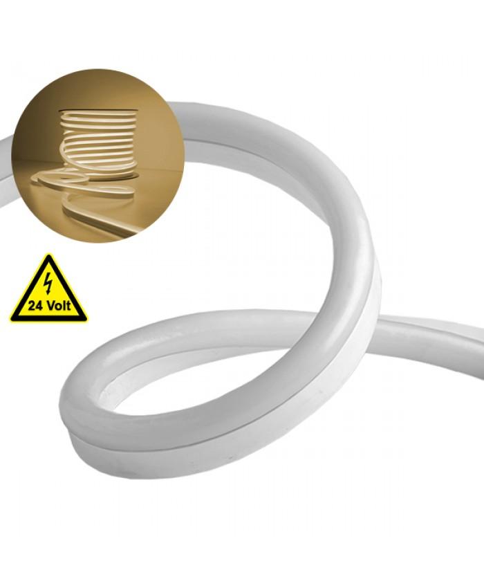 NEON FLEX LED Λευκή 1m 12W/m 24V 120 SMD/m 2835 SMD 880lm/m 120° Αδιάβροχη IP66 Θερμό Λευκό 3000k Dimmable Diommi 22620
