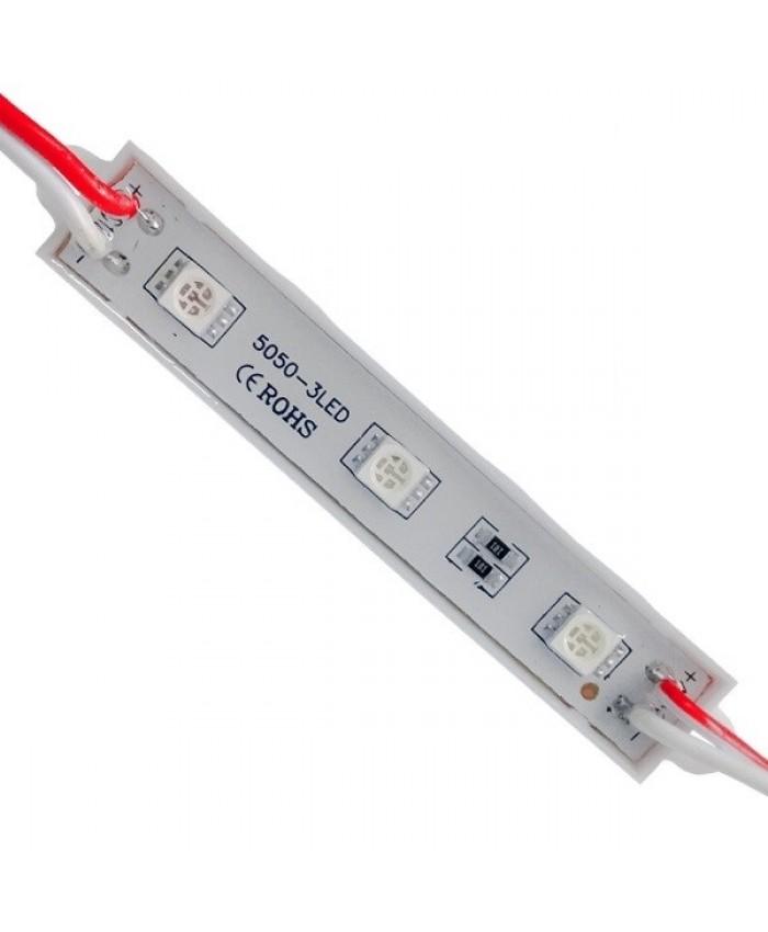 LED Module 3 SMD 5050 0.8W 12V 50lm IP65 Αδιάβροχο Κόκκινο Diommi 65002